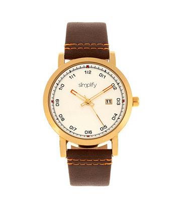 Quartz The 5300 Gold Case, часы из натуральной коричневой кожи 40 мм Simplify