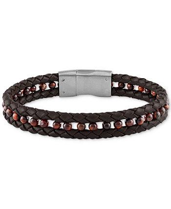 Плетеный браслет из черной кожи с гематитом (4 мм) из матовой нержавеющей стали (также в цвете «Красный тигровый глаз»), созданный для Macy's Esquire Men's Jewelry