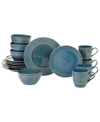 Aztec Teal 16-Pc. Dinnerware Set Certified International