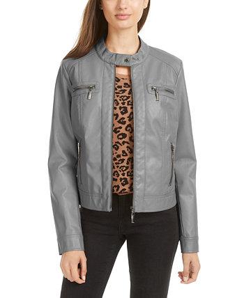Juniors' Faux-Fur-Lined Moto Jacket Jou Jou