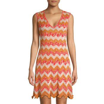 Metallic Chevron Knit Dress M Missoni