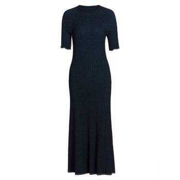 Трикотажное платье миди с эффектом металлик Everett Jonathan Simkhai