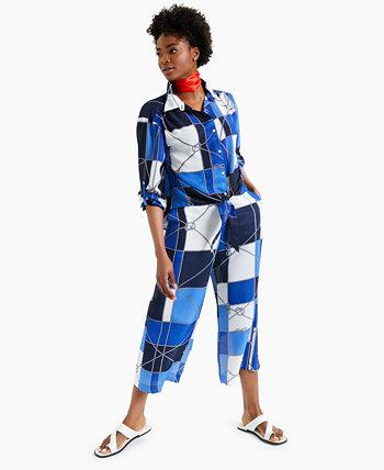 Укороченные широкие брюки с принтом Petite, созданные для Macy's Charter Club