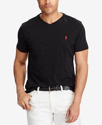Мужская большая и высокая классическая футболка с V-образным вырезом Ralph Lauren