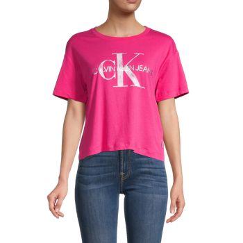 Короткая футболка с графитовым логотипом Calvin Klein Jeans