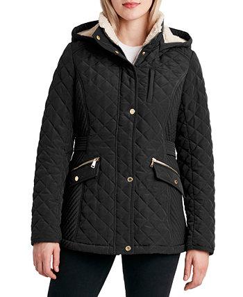 Стеганое пальто с капюшоном и флисовой подкладкой Laundry by Shelli Segal