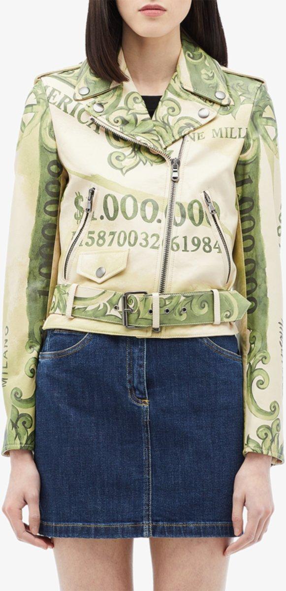 Кожаная мото куртка с принтом денег Moschino