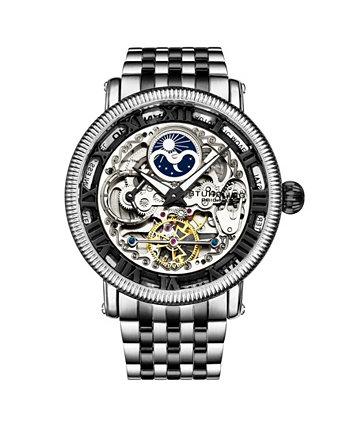 Мужские черные - серебряные часы-браслет из нержавеющей стали 49мм Stuhrling