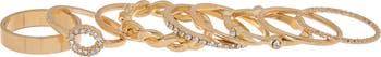 Набор золотых колец с кристаллами паве - набор из 9 предметов Panacea