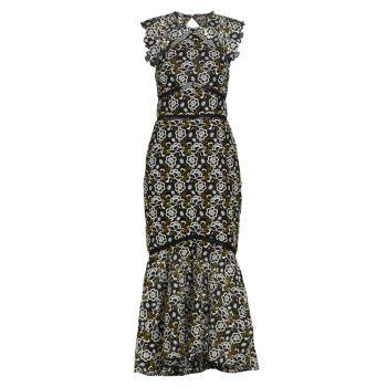 Платье без рукавов с вышивкой High-Low ML Monique Lhuillier