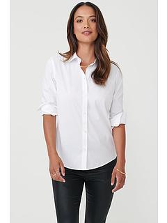 Белла без железной эластичной блузки на пуговицах UNTUCKit