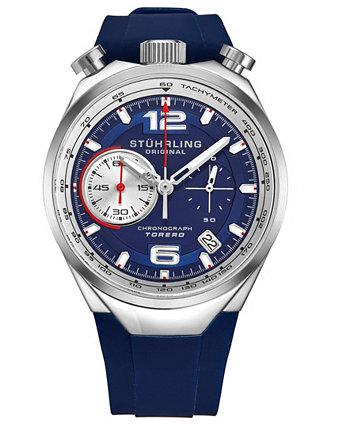 Мужские кварцевые синие высококачественные резиновые часы с силиконовым ремешком 42 мм Stuhrling