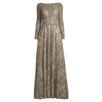 Платье трапециевидной формы с длинными рукавами и вышивкой из бисера MAC DUGGAL