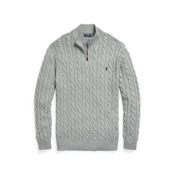 Хлопковый свитер кабельной вязки на молнии до четверти ig Ralph Lauren