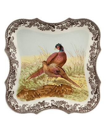Восьмиугольная тарелка лесного фазана Spode