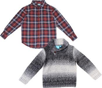 Комплект из двух тканых рубашек и свитера с длинными рукавами и принтом BEAR CAMP