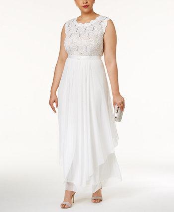 Платье большого размера с кружевами и вышивкой R & M Richards