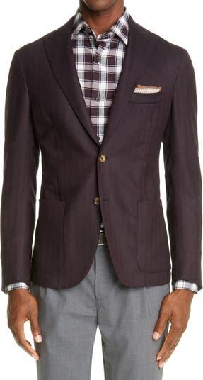 Herringbone Trim Fit Stretch Wool Blazer Eleventy