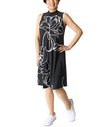 Платье-трапеция с принтом Petite с воротником-стойкой Robbie Bee