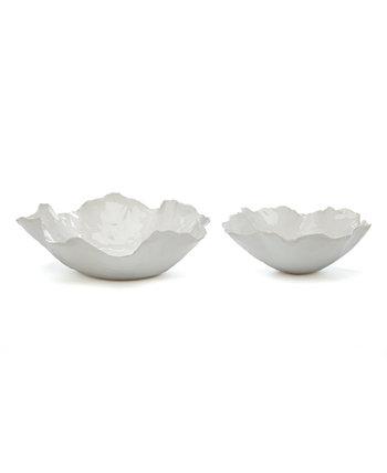 Белые миски произвольной формы, набор из 2 шт. Two's Company