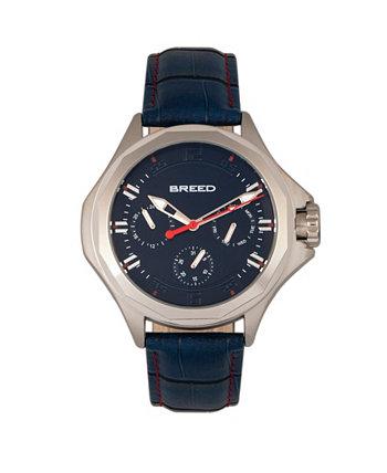 Часы из натуральной кожи Quartz Tempe Blue и Silver 43 мм Breed