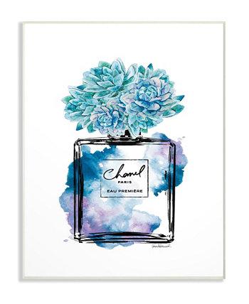 Модный акварельный флакон духов с настенной табличкой с синими цветами, 10 дюймов (Д) x 15 дюймов (В) Stupell Industries