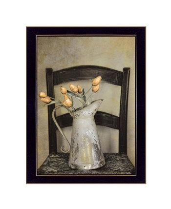 """Золотые тюльпаны от Робин-Ли Виейры, готовые к развешиванию принты в рамке, черная рамка, 14 """"x 18"""" Trendy Décor 4U"""