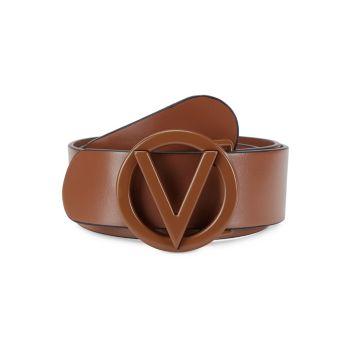 Кожаный ремень с круглой пряжкой и логотипом Valentino By Mario Valentino