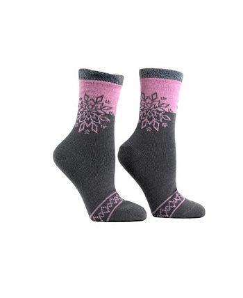 Женские двухслойные носки-тапочки с пушистым запахом снежинки, 2 шт. MinxNY