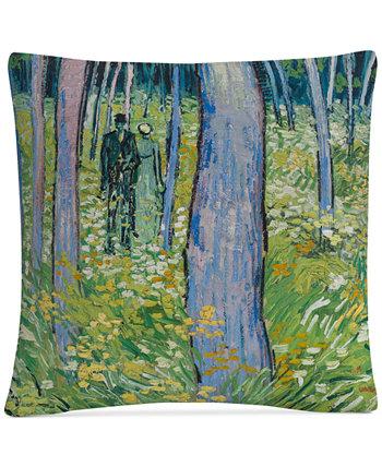 Подлесок Ван Гога с двумя фигурами Декоративная подушка размером 16 x 16 дюймов BALDWIN