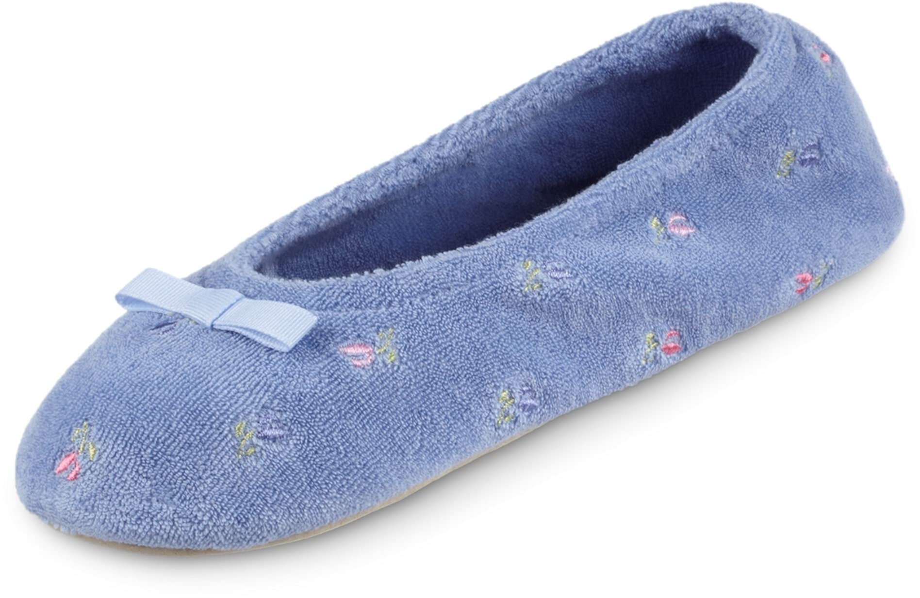 Embroidered Terry Ballerina Slippers ISOTONER