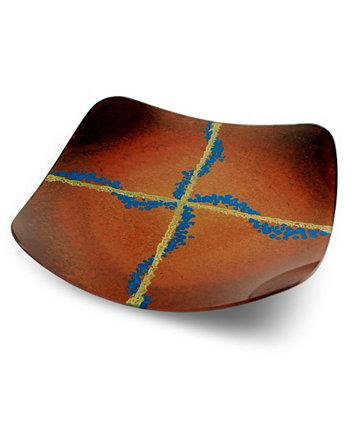 13-дюймовая квадратная тарелка с круглыми ножками Jasmine Art Glass
