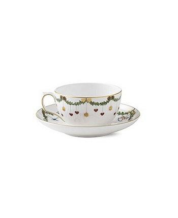 Star Fluted Christmas Teacup Saucer Royal Copenhagen