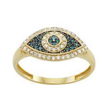 Золото 10 карат 1/3 карата T.W. Кольцо со сглазом с синим и белым бриллиантом Tiara