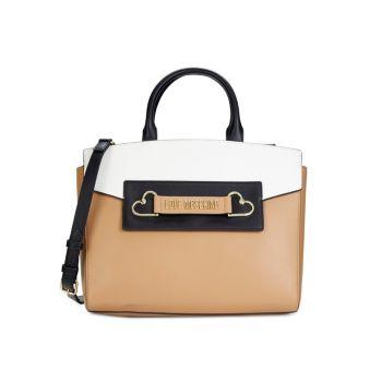 Сумка-портфель с цветными блоками и логотипом LOVE Moschino