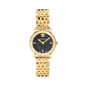 Часы с браслетом из нержавеющей стали Greca Glass Goldtone Versace