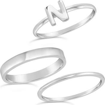 Первоначальное кольцо из стерлингового серебра - набор из 3 штук - N Sterling Forever