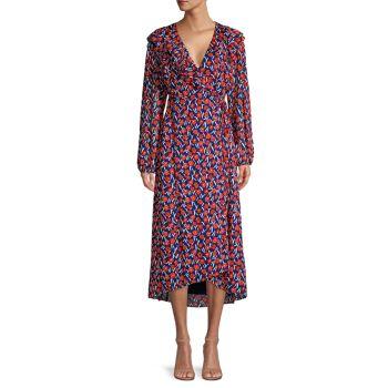 Платье с цветочным принтом и запахом ESCADA