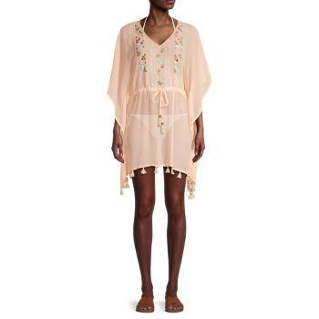 Платье-накидка с вышивкой на завязках на талии Letarte