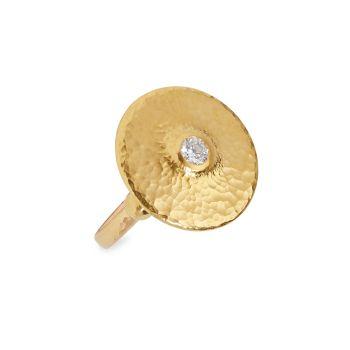 Капля 22K & amp; Желтое золото 24 карат & amp; Большое кольцо с бриллиантом Gurhan