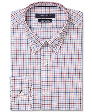 Мужская приталенная классическая рубашка в клетку без утюга TH Flex Performance в клетку большого и высокого роста Tommy Hilfiger