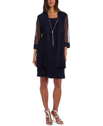 Блестящая куртка и платье с ожерельем R & M Richards