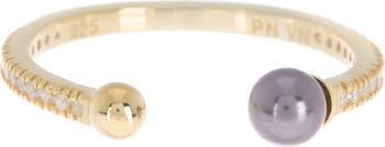 Стерлинговое серебро с покрытием из желтого золота 585 пробы, белое циркониевое кольцо, 4 мм, черный жемчуг, открытая полоса Paige Novick