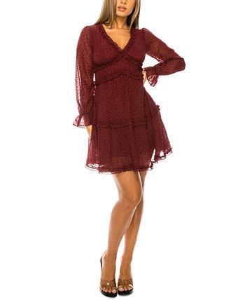 Юниорское платье с рюшами в горошек B Darlin