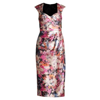 Платье-футляр из парчи Sweetheart Aidan Mattox