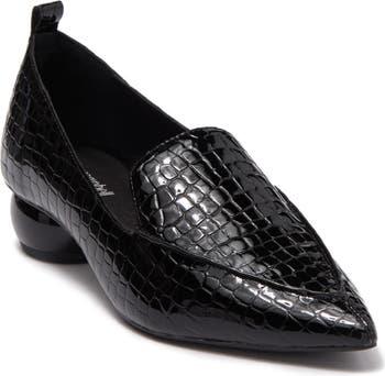 Кожаные лоферы Vinny с острым носком и тиснением под крокодиловую кожу Jeffrey Campbell