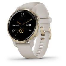 Смарт-часы Garmin Venu 2S, светло-золотая рамка, светло-песочный чехол и силиконовый ремешок Garmin