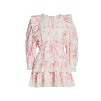 Мини-платье Santorini с оборками LOVESHACKFANCY