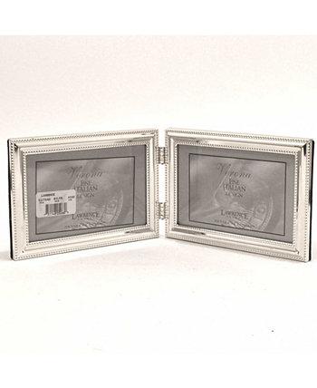"""Шарнирная двойная металлическая рамка для фотографий Серебряная пластина с тонкой вышивкой - 4 """"x 6"""" Lawrence Frames"""