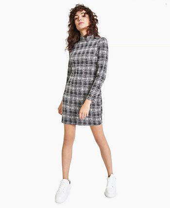 Облегающее платье в клетку с воротником-стойкой, созданное для Macy's Bar III